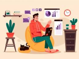 ilustración header herramientas teletrabajo uai